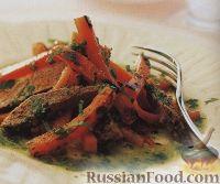 Салат из жареного батата и говядины