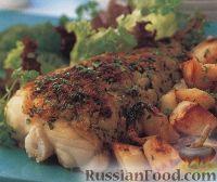 Морская рыба, запеченная с картофелем в духовке