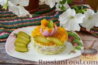 Слоеный салат с горбушей и маринованными огурцами