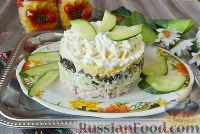 Слоёный салат с копчёной курицей и грибами