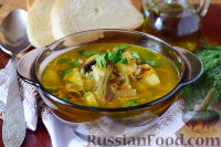 Суп с морской капустой и грибами