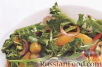 Зеленый салат с апельсинами