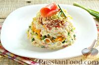 Слоёный салат с рыбой
