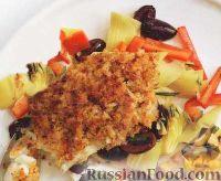 Морской окунь с салатом из артишоков
