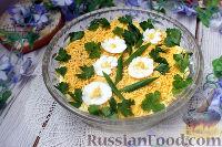 Слоеный салат с рыбными консервами и майонезом