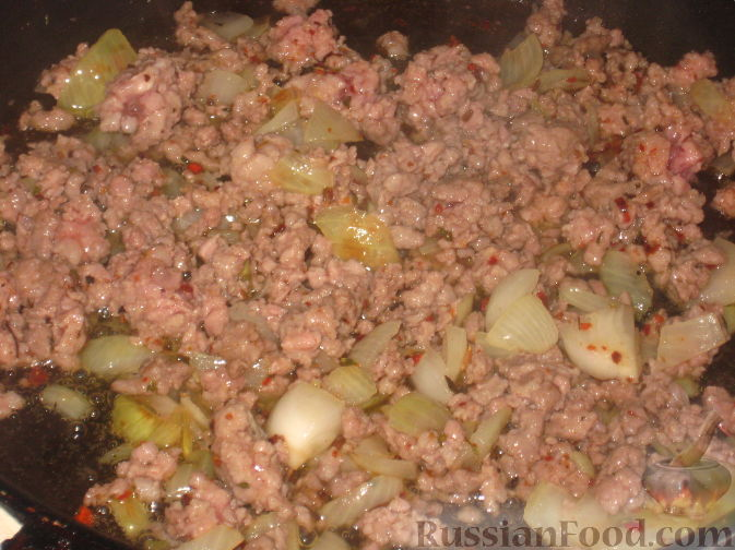 Обжарить мясо с луком, добавить специи по вкусу.