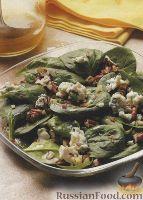 Салат из шпината с сыром и орехами