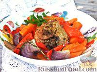 Запечённая курица с тыквой и перцем