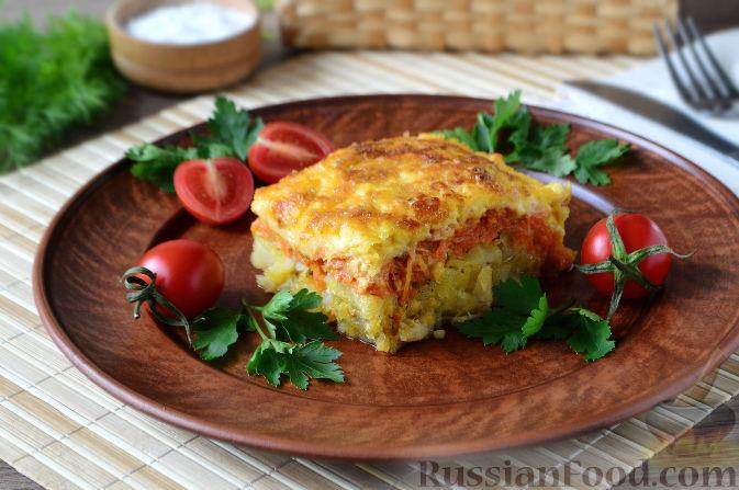 Запеченная рыба с овощами, сыром и майонезом