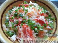Салат из белокочанной капусты, помидоров и моркови
