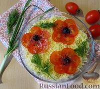 """Слоеный салат """"Букет маков"""" с курицей и грибами"""