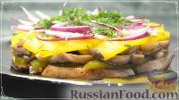 Салат с курицей, перцем и грибами, в медовом соусе