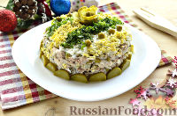 Салат с тунцом, рисом и зеленым горошком