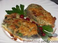 Рыба жареная с зеленью и чесноком