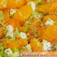 Оранжевый салат с мандаринами и хурмой