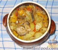Мясо с картошкой и овощами в горшочках