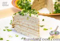 Блинный торт с курицей и сливочным сыром