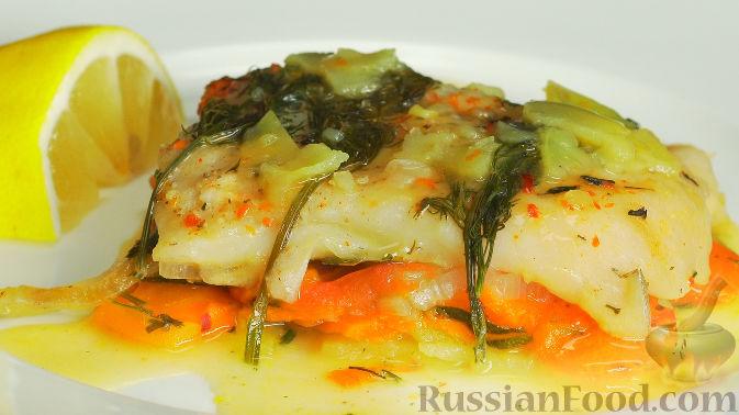 Пангасиус, запеченный с овощами