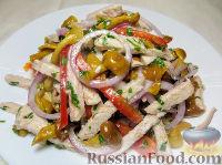 Салат по-деревенски, с мясом и грибами