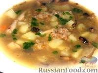 Гречневый суп с курицей и грибами