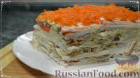 Закусочный торт-салат с крабовыми палочками