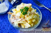 Салат из кальмаров, яблок и лука