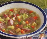 Капустный суп с копчеными колбасками и яблоками