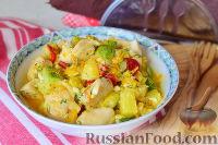 Овощи, тушенные с куриным филе