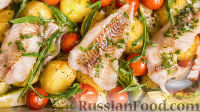 Рыбное филе, запечённое с кабачками и картошкой