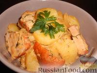 Молодой картофель с копченой курицей, в сливках