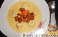 Сырный суп с фрикадельками и сухариками