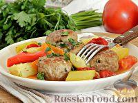 Овощное рагу с котлетами