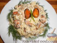 Салат из мидий с картофелем и яблоками