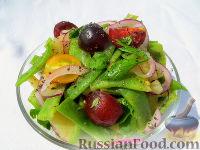 Летний салат с помидорами и зеленой фасолью