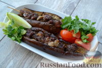 Мцвади (шашлык из баранины) в баклажанах