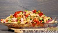Тёплый салат с пастой и тунцом
