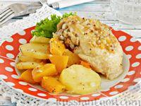 Курица, запечённая с тыквой и картошкой