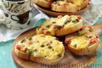 Горячие бутерброды с сыром, колбасой и зелёным горошком