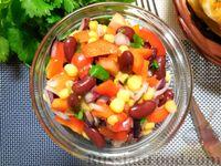 Овощной салат с фасолью и кукурузой