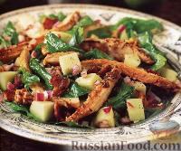 Салат из копченой курицы с яблоками