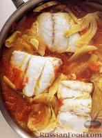 Тушеная рыба с помидорами и фенхелем