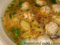 Суп с куриными фрикадельками и кольраби