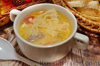 Куриный суп с овощами, макаронами и сливками