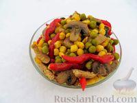 """Салат """"Арлекин"""" с курицей и грибами"""