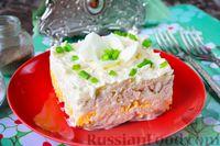 """Слоёный салат """"Белый"""" с курицей, фасолью и рисом"""