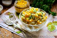 Салат из редьки с яйцом и кукурузой