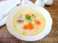Суп из кролика, с фасолью, грибами и сливками