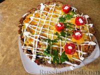Закусочный торт с мясом, грибами и картошкой
