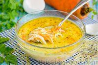 Морковный суп с вермишелью, йогуртом и мятой