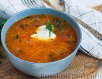 Томатный суп с фасолью и рисом